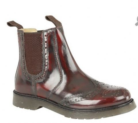 Grafters Oxblood Hi-Shine Leather Brogue Gusset Boot